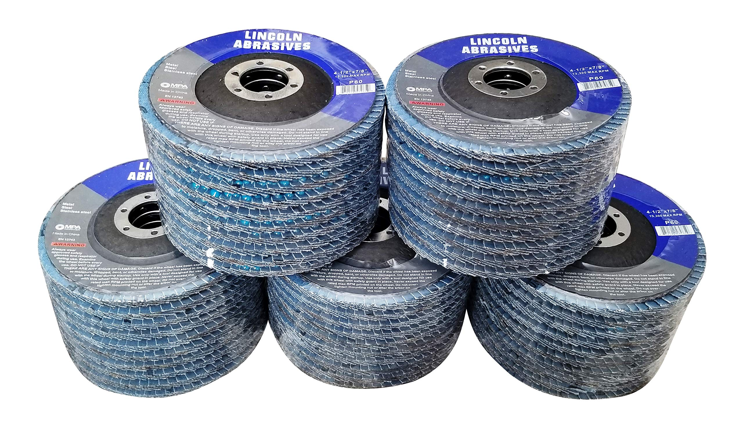 50 Pack Flap Discs 60 Grit 4.5'' x 7/8'' Sanding Wheels