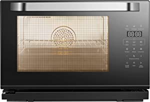 Robam Portable Convention Oven CT761 | Seven Cooking Modes with STEAM Function | Elegant Black Design w/ LCD Touch Screen, Spacious Capacity, Easy-Glide Racks and Interior Lamp | Cooking Made Easy