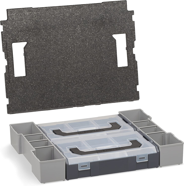 Profi Werkzeugkoffer leer inkl Sortimentskasten Eins/ätze grau Sortimentskasten transparent mit Klappgriff mit 12-fach Einlage L-BOXX 102
