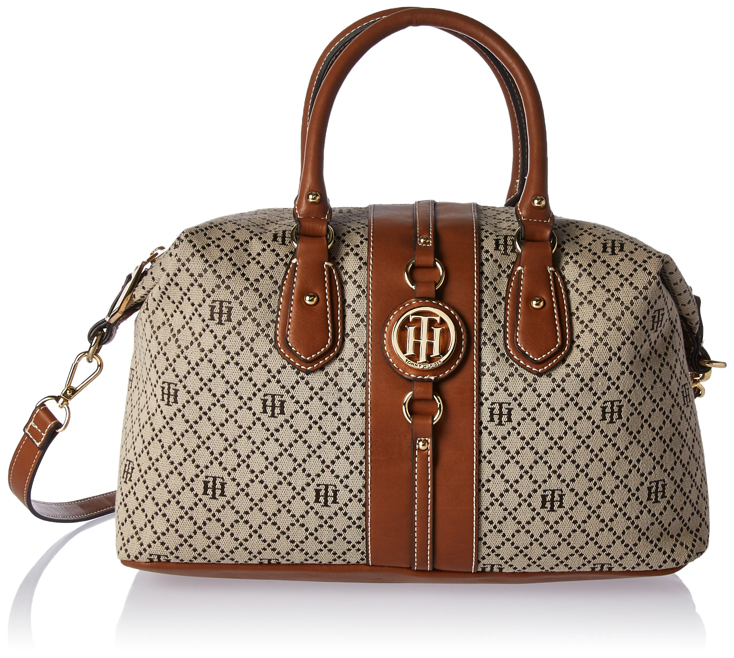 Tommy Hilfiger Handbag Jaden Satchel, Tan Diamond