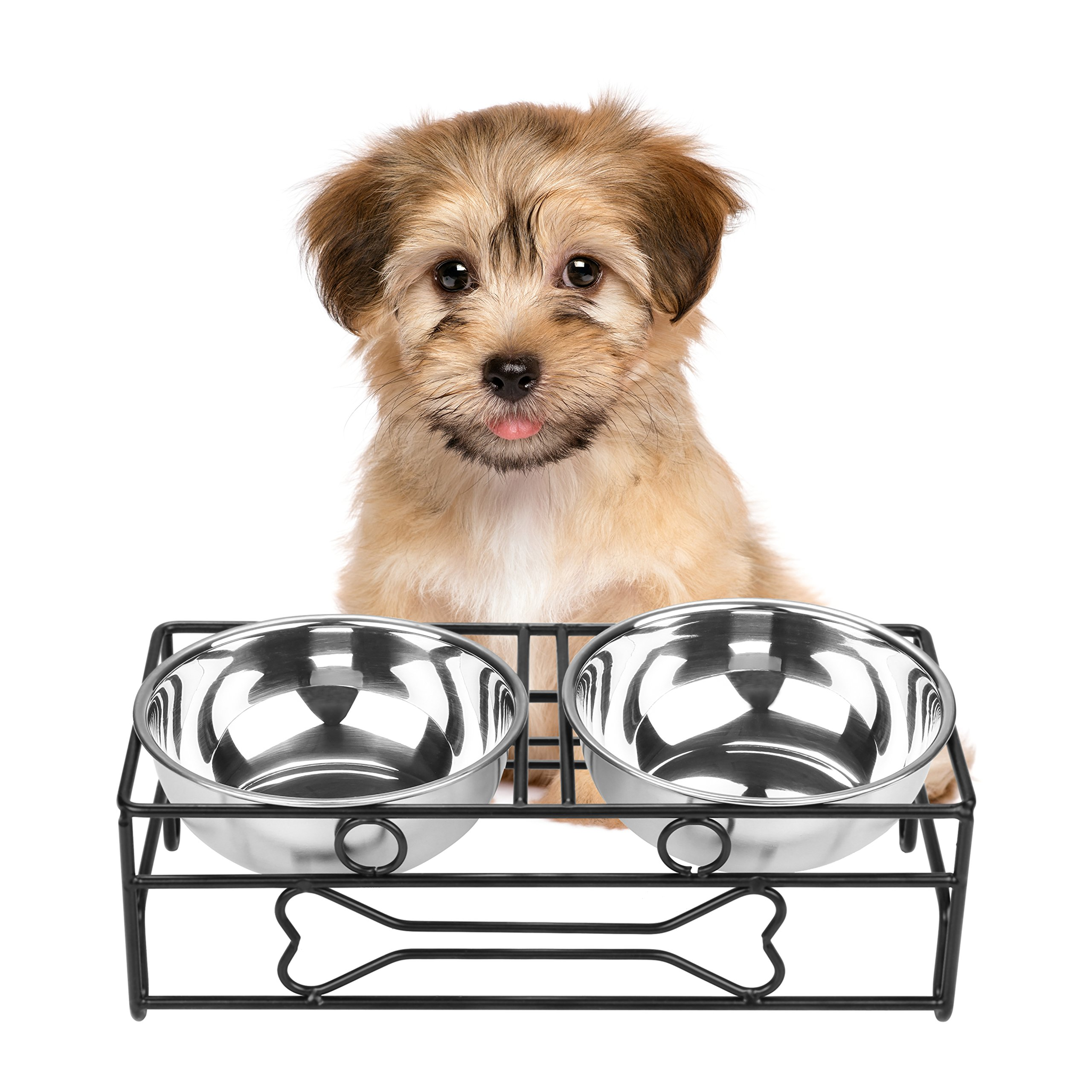 VIVIKO Bone Style Pet Feeder for Dog Cat, Stainless Steel Food and Water Bowls with Iron Stand (Small)
