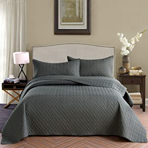 Exclusivo Mezcla 3-Piece Queen Size Quilt Set with Pillow Shams, as Bedspread/Coverlet/Bed Cover(Basket Weave Steel Grey) - Soft, Lightweight, Reversible& Hypoallergenic