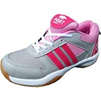 PORT Women's Pink Badminton Shoe For Men, Boys, Women, Girls & Junior Upper PU Material Non Marking Sole Outdoor Indoor Playing - Best in Badminton & Other Games Basketball, Volleyball, Running, Gymnastic, Jogging, Walking & Weight Lifting Sports Shoe