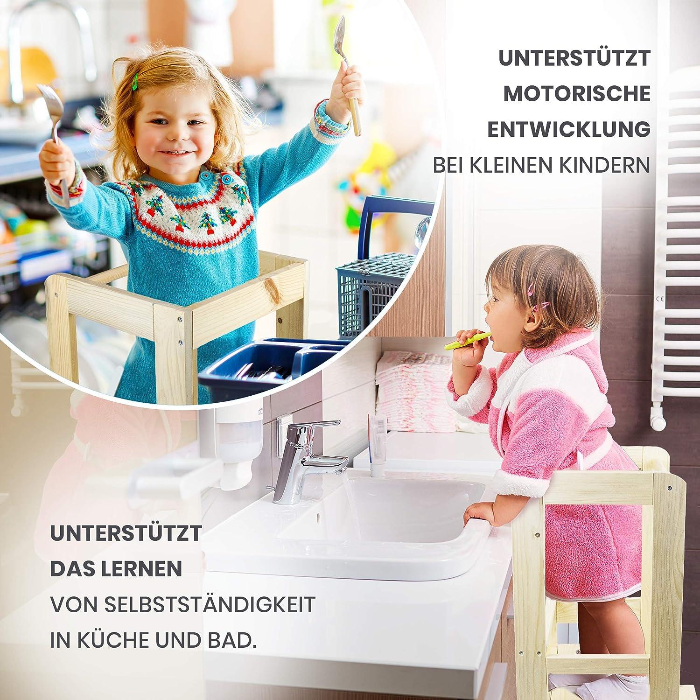 Amazinggirl Torre Montessori Learning Tower Piani Regolabili in Altezza Torre Apprendimento Bambini Sgabello con Gradino Realizzato in Legno per Cucina Bagno