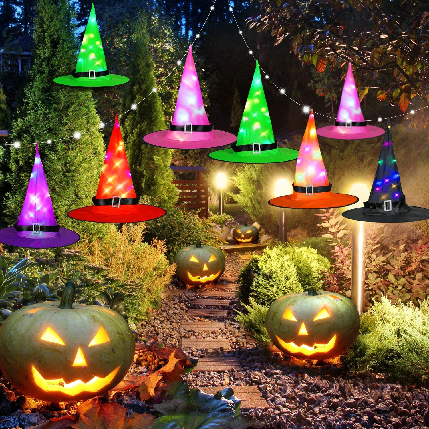 Lighted Witch Hats for Hanging