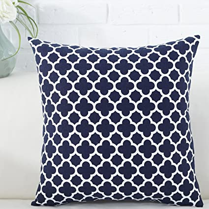 Astounding Taoson Navy Blue Moroccan Quatrefoil Accent Pattern Cushion Cover Pillow Cover Pillowcase Cotton Canvas Pillow Sofa Throw White Printed With Hidden Andrewgaddart Wooden Chair Designs For Living Room Andrewgaddartcom