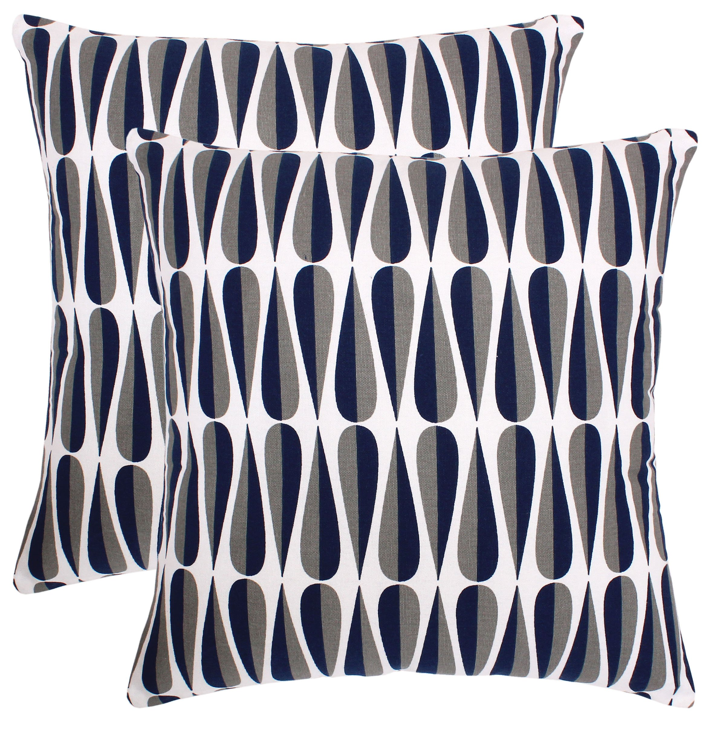 Pack of 2 Accent Decorative Throw Pillow Covers Cushion Cases Cushion Covers Pillowcases in Cotton Canvas with Hidden Zipper Slipcovers for Couch Sofa Bed (18'' x 18'') (18'' x 18'', Navy)
