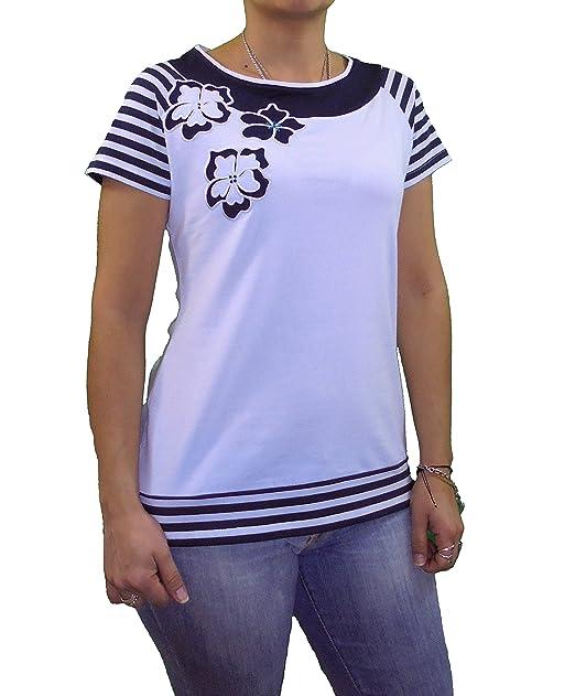 Camiseta rayas flores bordadas (XXL)