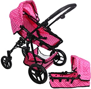 Mommy & Me Babyboo Baby Doll Stroller 2 in 1 Foldable Doll Pram for Toddlers and Girls, with Convertible Seat, Adjustable Handle, Swiveling Wheels, Basket, and Free Carriage Bag, Cupcake
