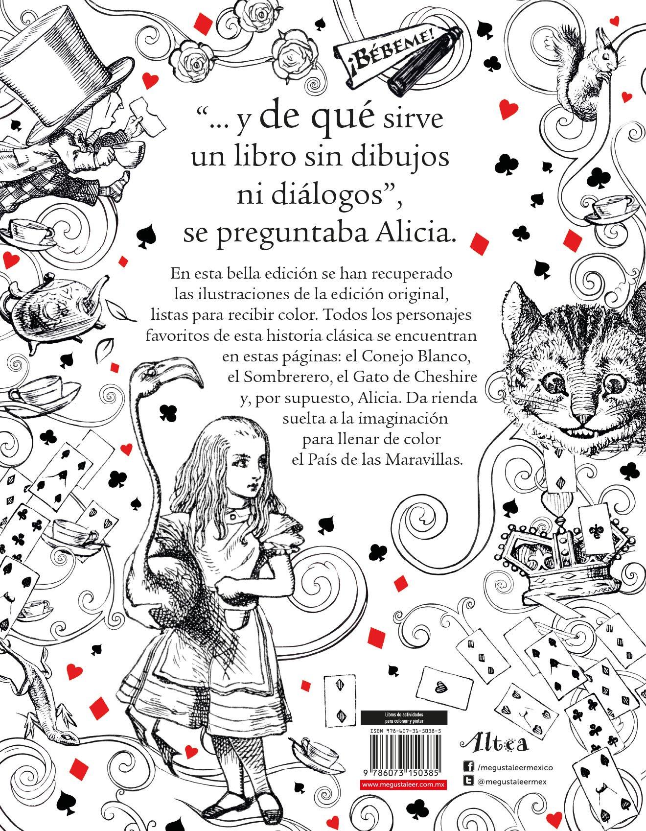 El libro de Alicia en el país de las maravillas para colorear: Lewis ...