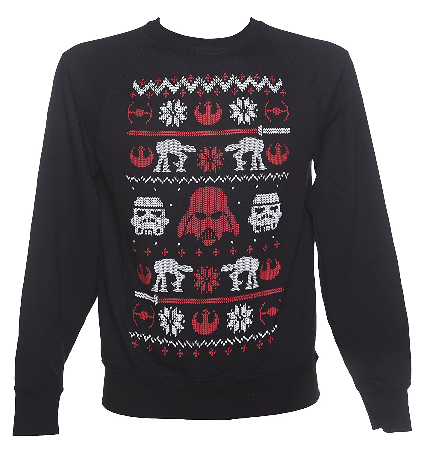 Mens Black Star Wars Fair Isle Knit Design Sweater Black/Charcoal ...