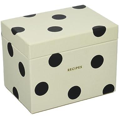 Kate Spade New York Recipe Box, Deco Dot, Black/Crm