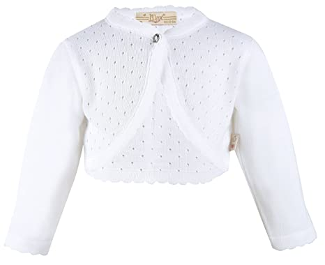 Baby Sweaters 6 Months Lilax Baby Girls' Knit Long Sleeve One Button Closure Bolero Shrug 3-6 Months White