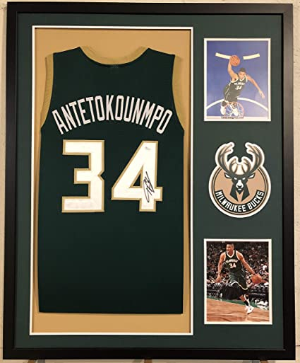 aab58449d Image Unavailable. Image not available for. Color  Giannis Antetokounmpo  Autographed Custom Framed Milwaukee Bucks Jersey ...