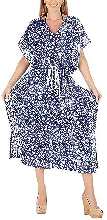 Blau Strand De Frauen Batik Lange La Kaftan Leela Kleid Größe x764 rxsdthQCBo