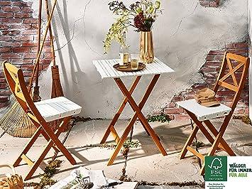 SAM® Salon de balcon en 3 pièces, meubles de jardin en bois d\'acacia, 1 x  table + 2 x chaises pliantes, huilé, blanc, pliant, facile à ranger, ...