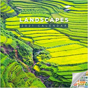 Landscapes Calendar 2021 Bundle - Deluxe 2021 Landscapes Wall Calendar with Over 100 Calendar Stickers (Nature Gifts, Office Supplies)