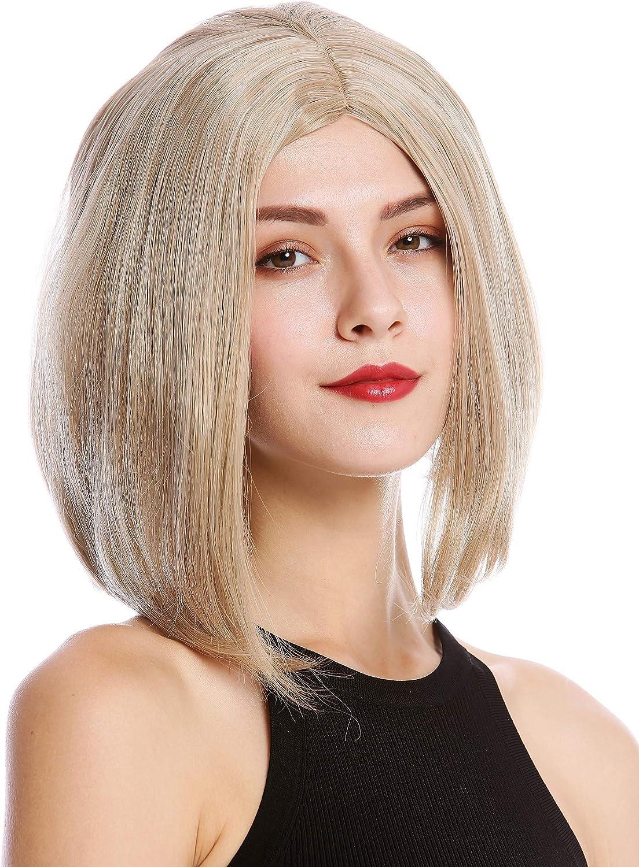 YZF-4370-16//26//silver Perruque dame cosplay courte hauteur d/épaules carr/é long raie centrale lisse m/élange blond WIG ME UP /®
