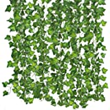 83 Ft (12pcs) Artificial Greenery Fake Ivy Leaves Hanging Vine Plant Garland for Garden Wedding Party Home Wall Decoration