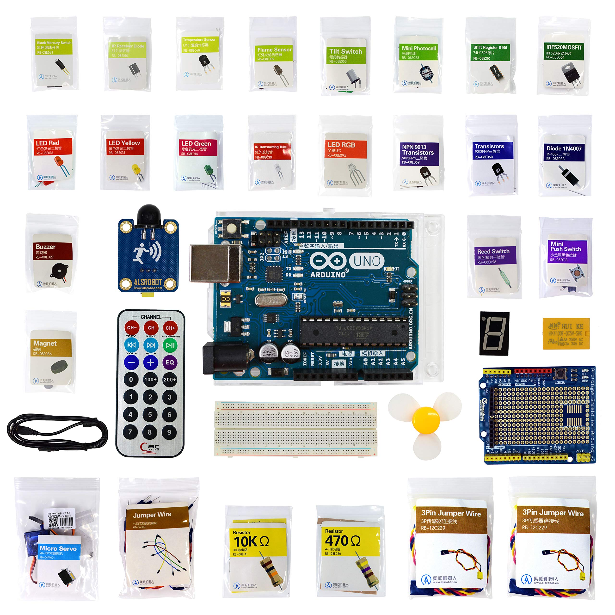 ALSRobot UNO R3 Project Complete Starter Kit with Tutorial for Arduino , Educational Robotics(More Than 17 How to Tutorials)