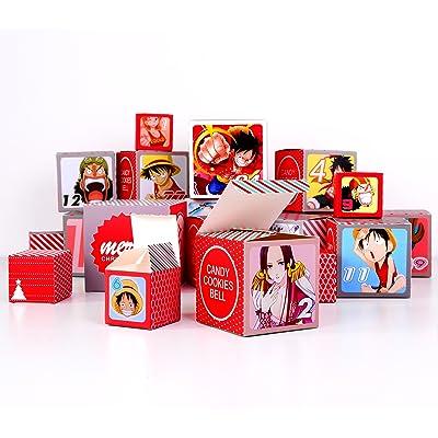 Boîtes de calendrier de l'Avent 24 Boîtes Boxes pour Anime One Piece Boîtes de remplissage de cadeaux Calendrier à remplir (Boîtes de calendrier de l'Avent pour One Piece)