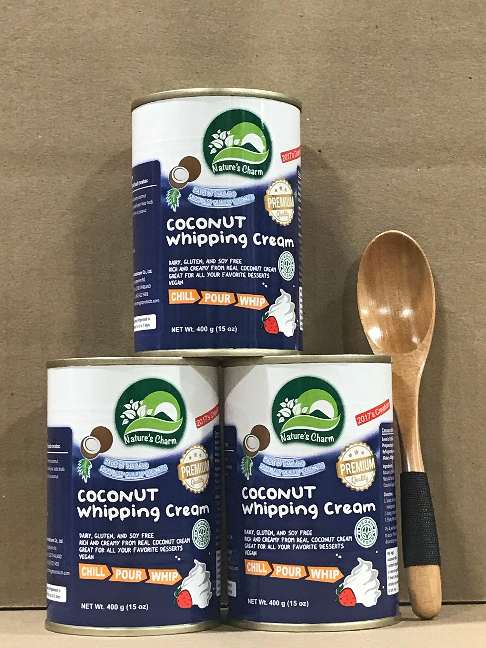 KC Commerce Nature's Charm Coconut Whipping Cream 15oz With Free Wooden Spoon (15oz pack of 3)
