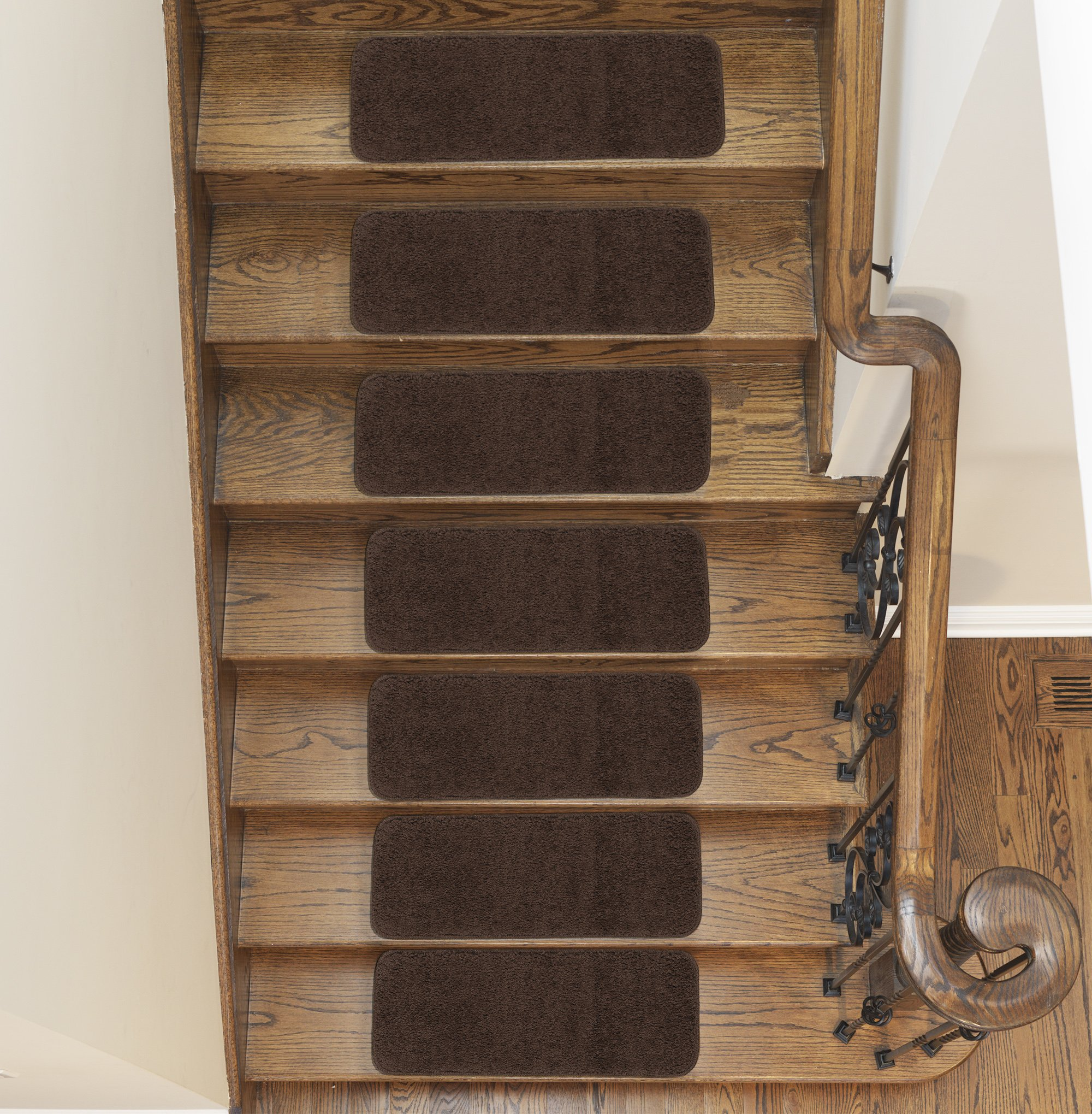 """Sweethome Stores Non-Slip Shag Carpet Stair Treads, (9""""X26"""")-5 Pack- Brown Solid"""
