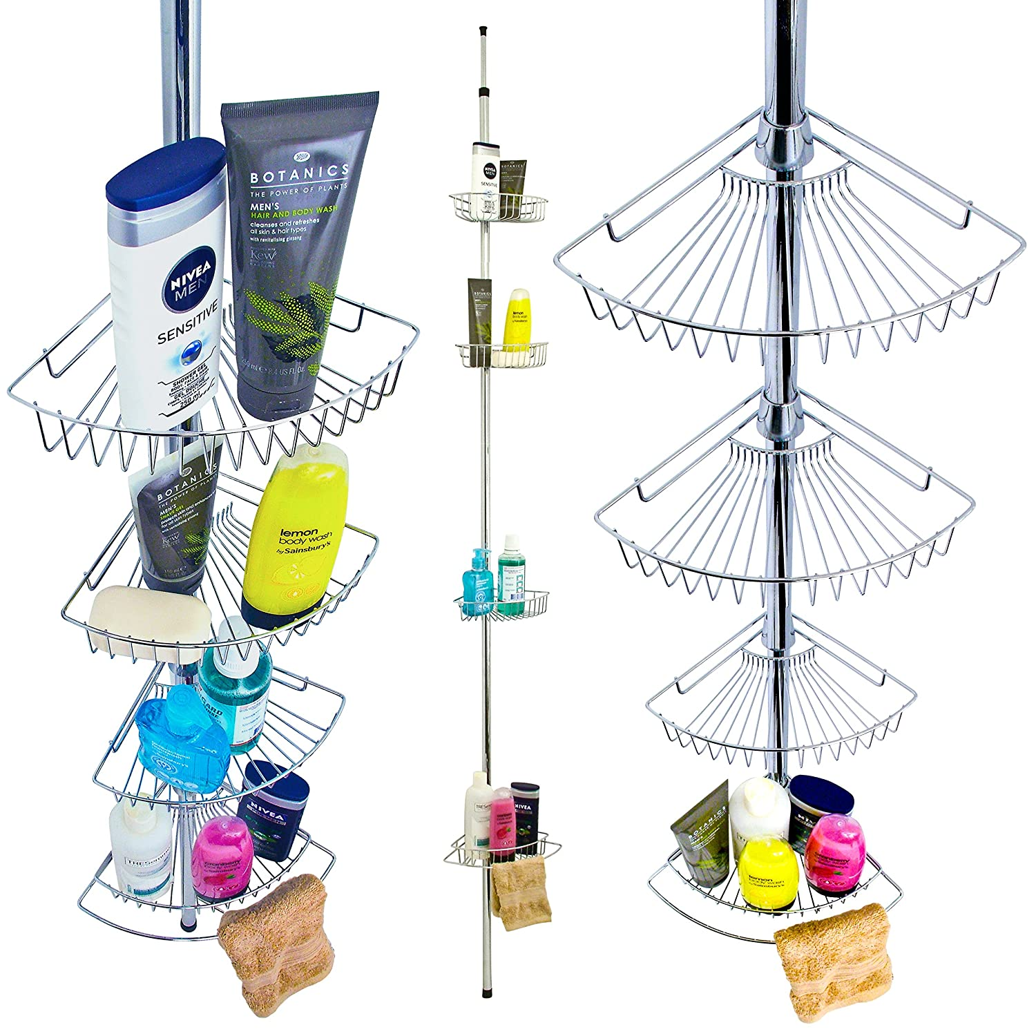 Great Ideas Chrome Plated Four Shelf Shower Caddy   Fits With No Screws No  Drilling   Attractive Shelving System For Bath Or Shower Cubicles:  Amazon.co.uk: ...