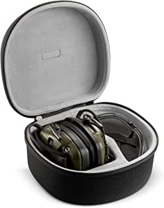 Caseling Hard Case for Howard Leight Impact Sport OD Electric Earmuff and Genesis Sharp-Shooter Safety Eyewear Glasses (Fits Earmuff & Glass)