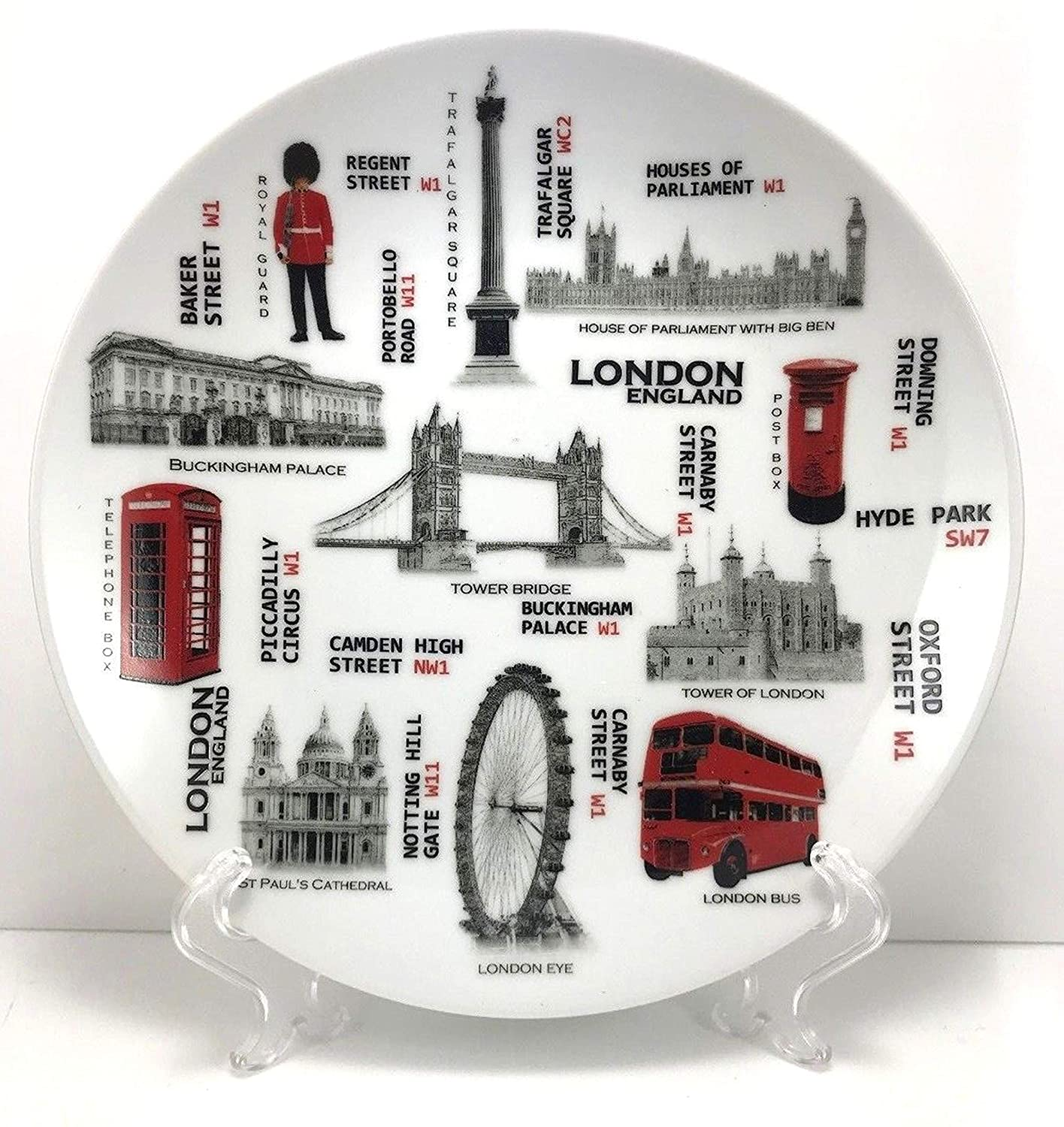 euroind LONDON SOUVENIRS DECORATIVE PORCELAIN PLATE + STAND 20 CM CERAMIC GIFT