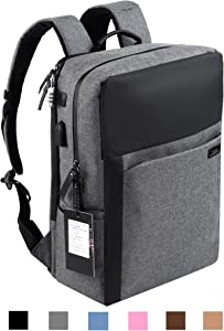 YUANYE Business Water Repellent Nylon Laptop Backpack with USB Charging Port and Lock Fits 15.6 Inch Laptop(GRAY)