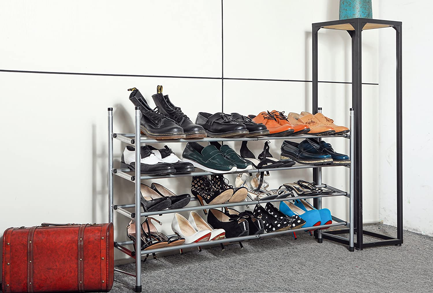 Metal and Silver for Closet//Entryway Expandable and Stackable WILSHINE 4 Tier Shoe Rack Organizer 20 Pair
