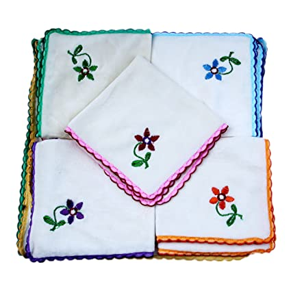 K.S. Collection Women's Cotton Flowers Embroidery Face Towels (Multicolour) - Set of 12