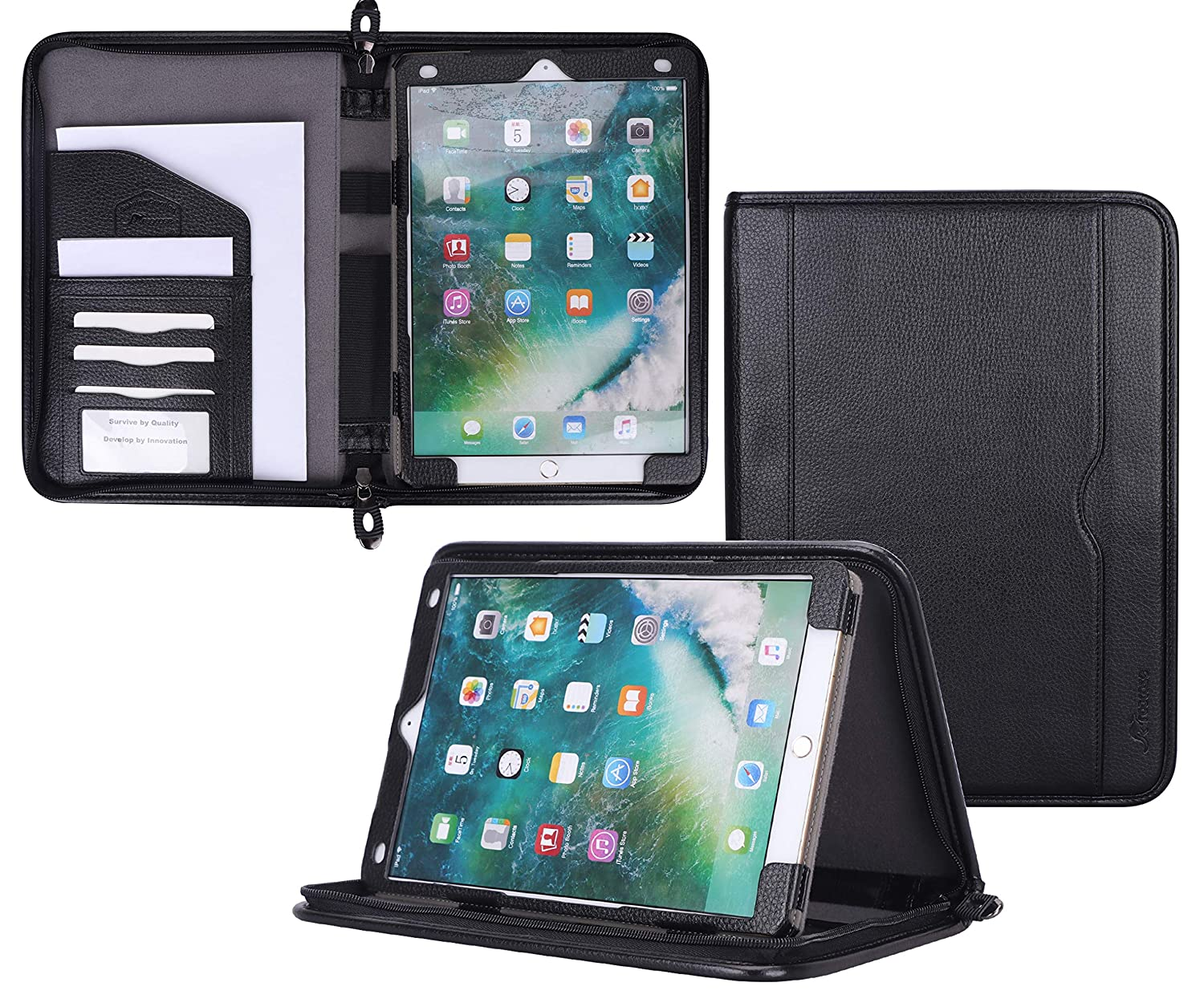 promo code f73ae a1273 rooCASE iPad Pro 10.5 Case - Premium Leather Executive Portfolio Case -  Detachable iPad Sleeve with Stand, Document and Card Holder, Apple Pencil  ...