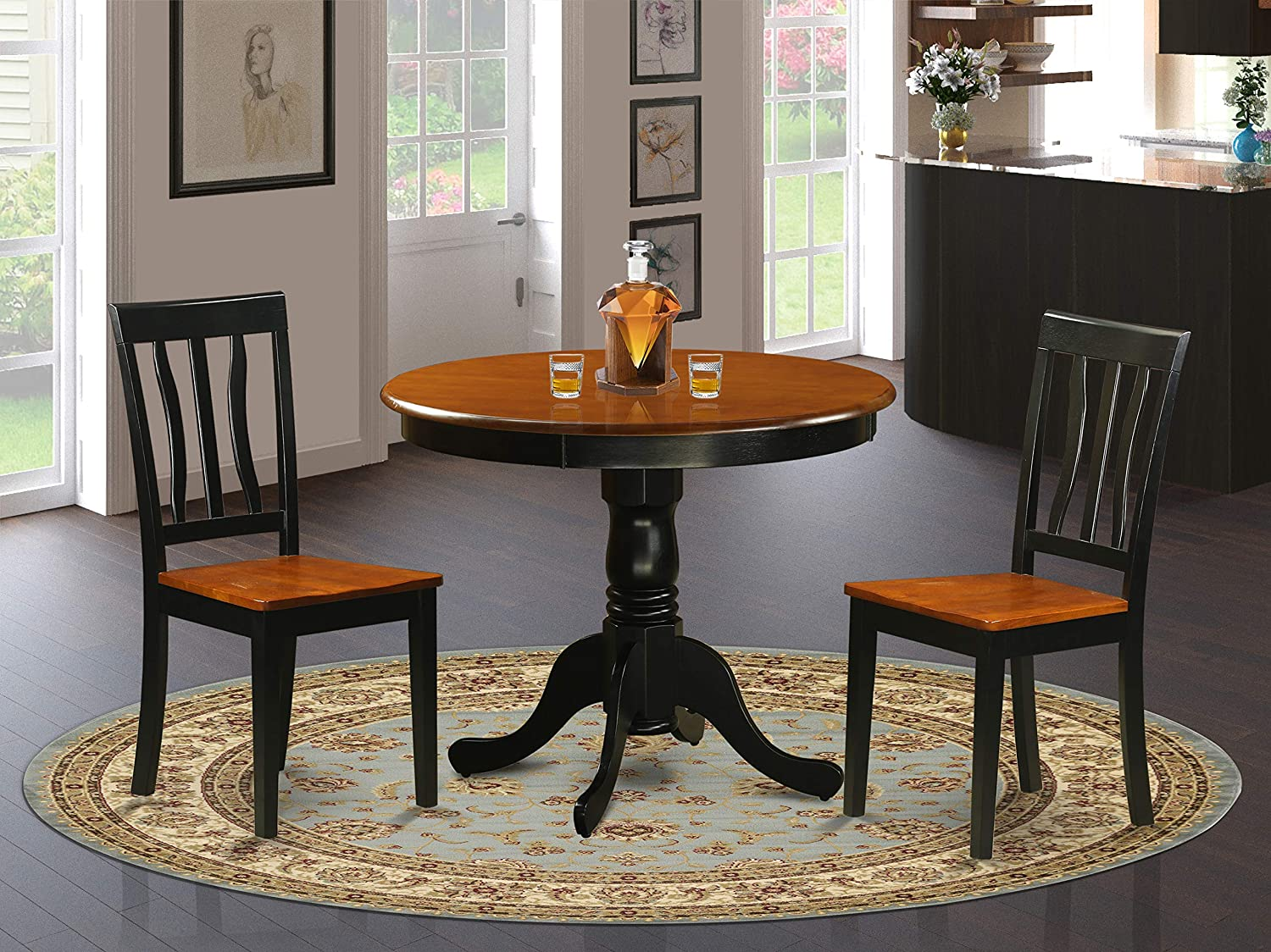 Amazon Com East West Furniture Dining Room Table Set 2 Fantastic Kitchen Chairs A Wonderful Round Dining Table Cherry Color Wooden Seat Cherry And Black Wood Table Table Chair Sets