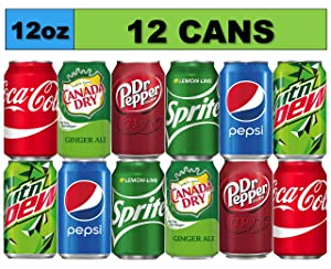 Soda Variety Pack (12 Cans) Bundle of Coke, Pepsi Cola, Dr Pepper, Mountain Dew, Sprite and Canada Dry Ginger Ale Soft Drinks, Mini Fridge Organizer Can Restock Kit