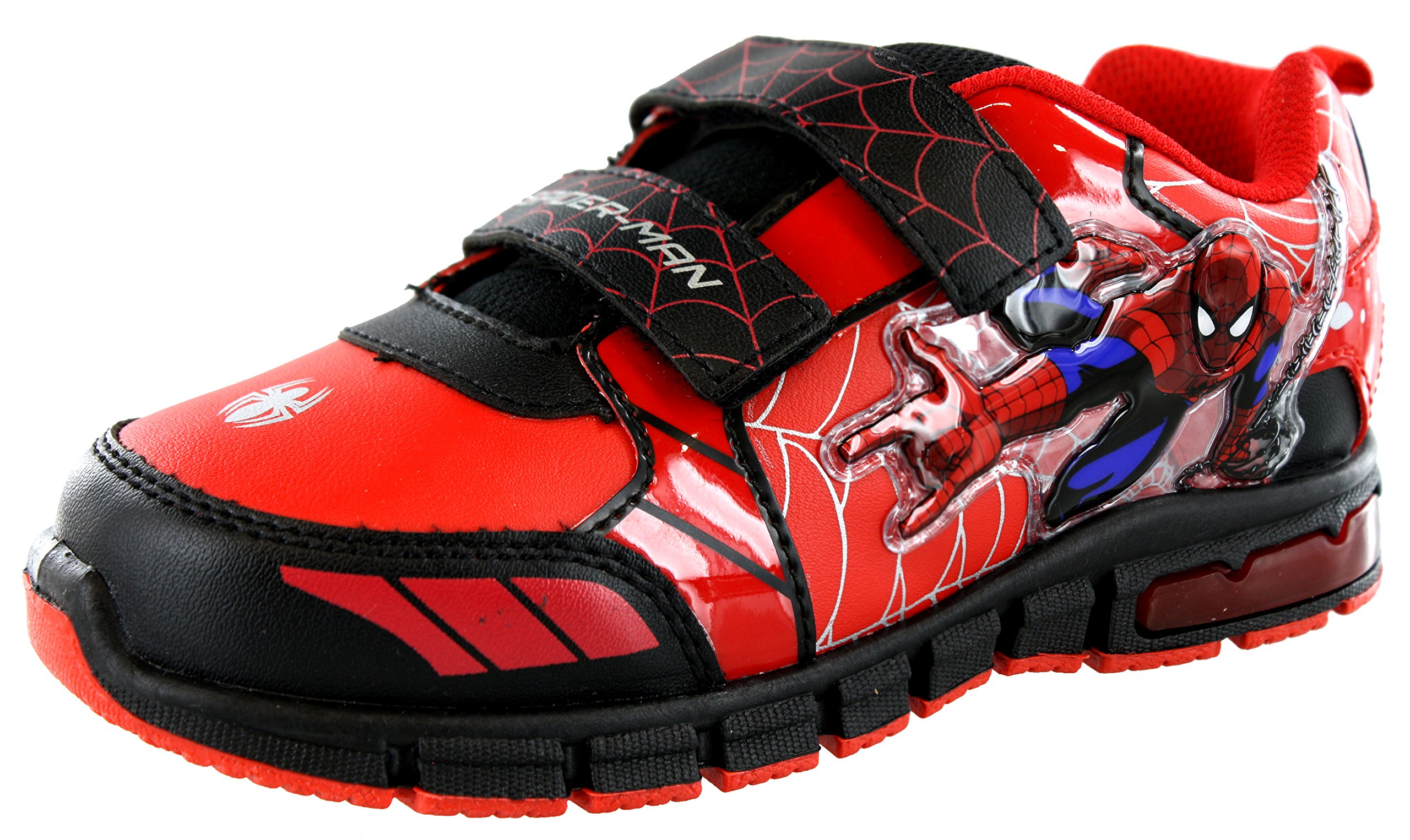 Trimfoot Ultimate Spiderman Little Boy's Light Up Sneakers Shoes, Size 7 Red