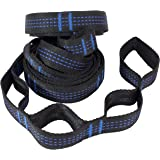Tropical Breeze Camping Hammock Tree Straps with 16 Loops, 9 Feet, Pack of 2, Black/Blue