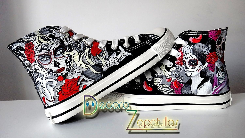 Zapatillas customizados personalizados lona Calaveras Mexicanas, regalos cumpleaños - regalos para el - regalos para ella - aniversario - San Valentin: ...