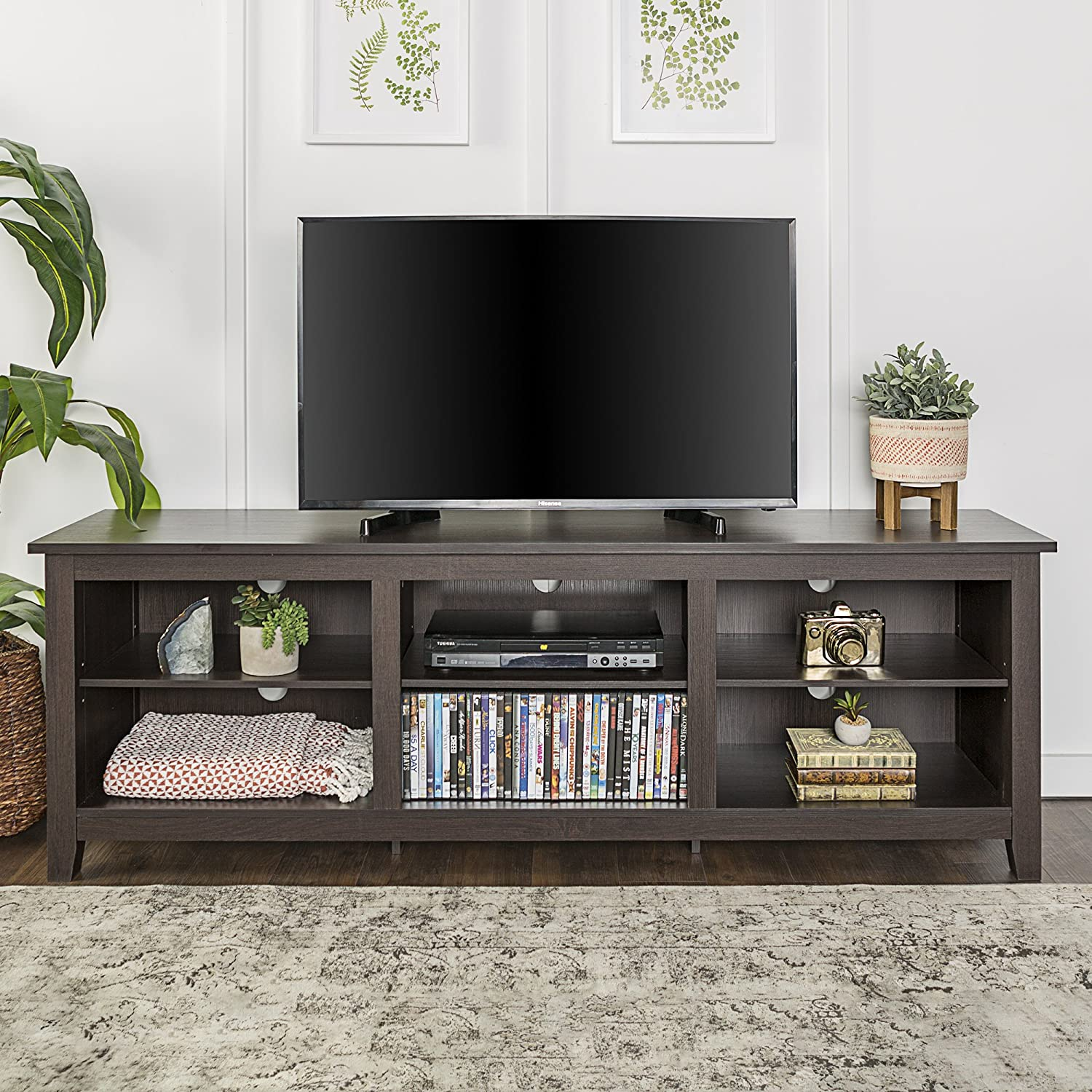 Amazon Com We Furniture 70 Espresso Wood Tv Stand Console For Flat