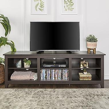 WE Furniture 70  Espresso Wood TV Stand Console
