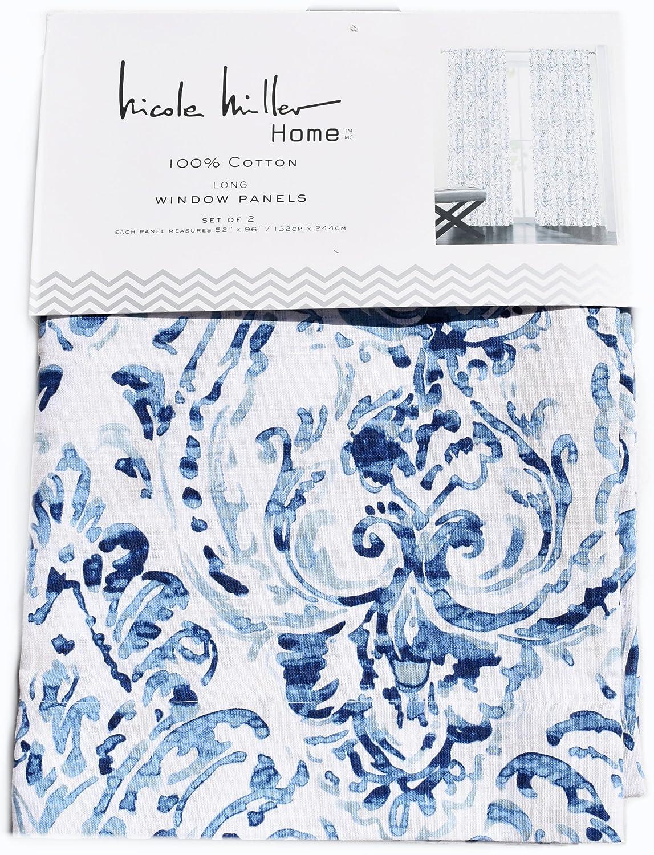 Nicole Miller Pair Of Curtains Mirabelle Gouache Paisley Aquarelle 2 Window Panels 52 By 96 Inch Navy Blue Turquoise Aqua Beige White Amazoncouk Kitchen
