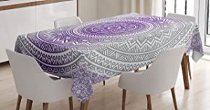Ambesonne Grey and Purple Tablecloth, Eastern Traditional of Cosmos Pattern Boho Ombre Mandala Design Print, Dining Room Kitchen Rectangular Table Cover, 60