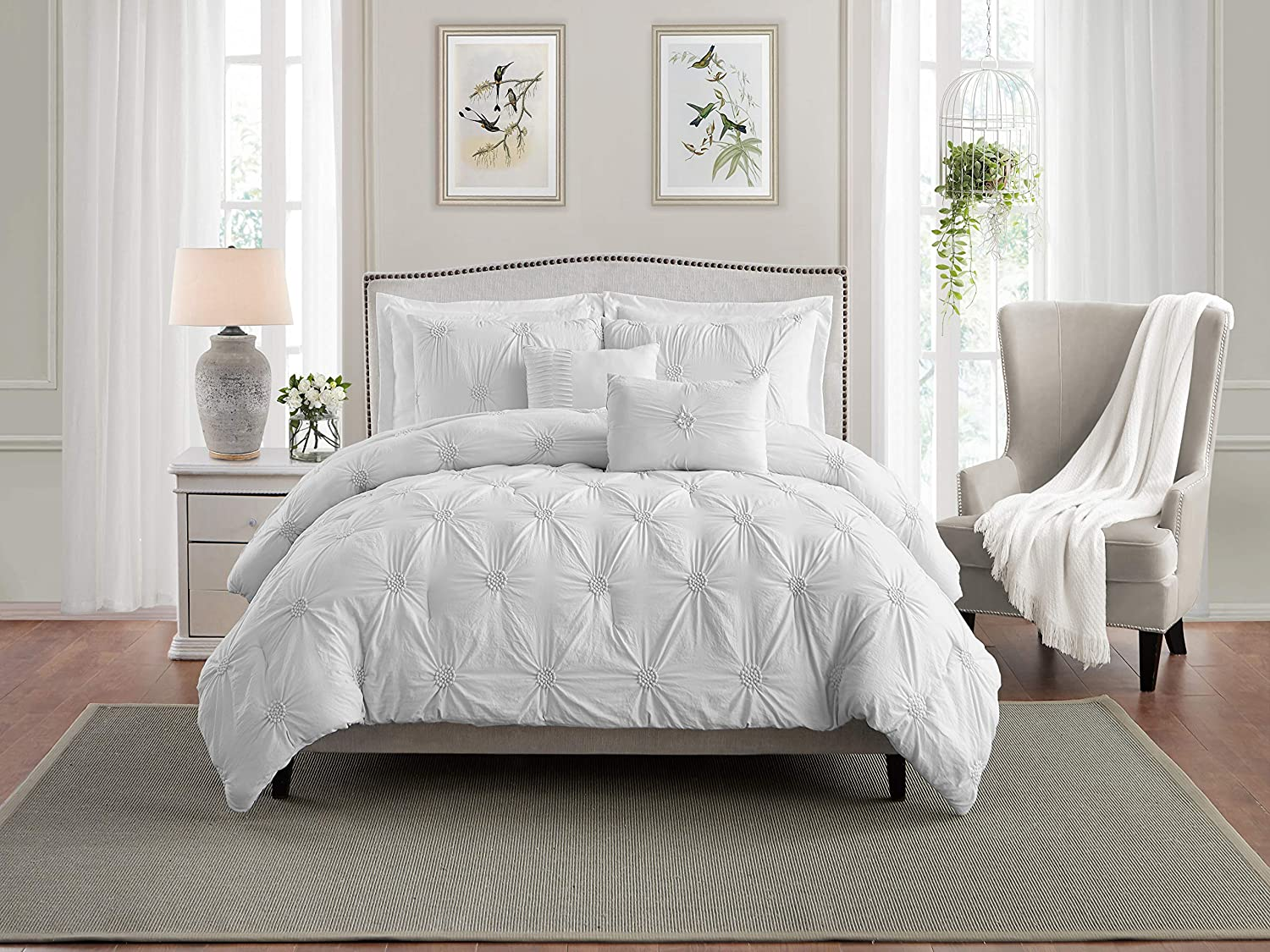 Swift Home Premium Bedding Set Collection 3-Piece Floral Ruched Pinch Pleat Pintuck Comforter Set - Full/Queen, White