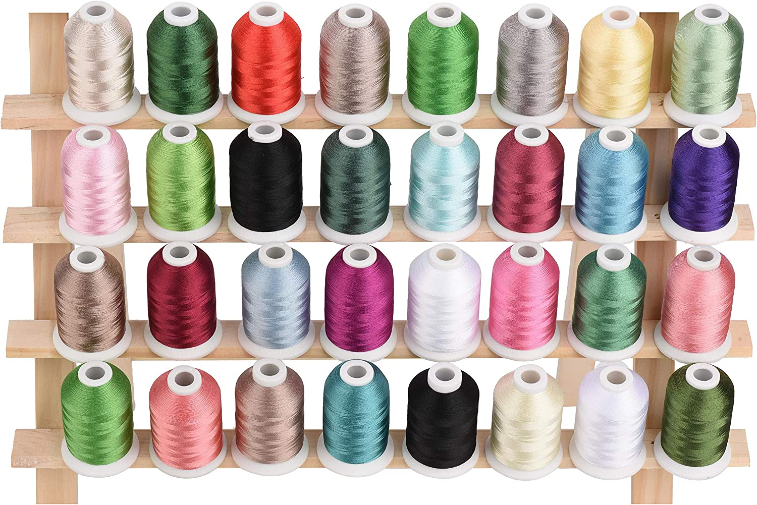 Simthread New 30 Color Packs Polyester Embroidery Machine Thread Kit 500M Essential Color 2 Each Spool 550Y