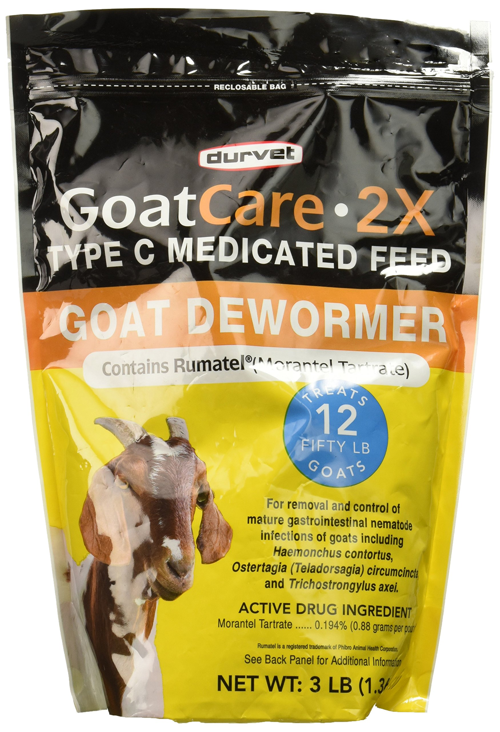 Goat Care 2X Medicated Pellets, Goat Dewormer, 3 Pound Package - Part #: 001-0311 by Durvet