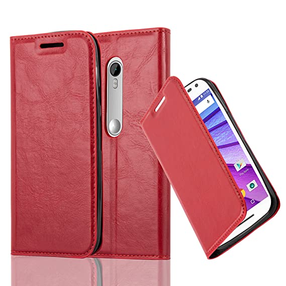 reputable site 990fc 9dd30 Cadorabo Book Case Works with Motorola Moto G3 in Apple RED – with Magnetic  Closure, Stand Function and Card Slot – Wallet Etui Cover Pouch PU ...
