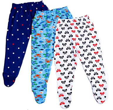 9b7863be7 BAYBEE Cotton Pajamas Leggings With Booties Socks For Unisex (Random Colors  And Prints) Pack