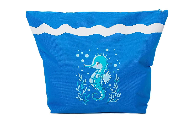 Airee Fairee Bolsa de Playa para Mujer Toalla de Playa EU 36-37, Azul Claro Chanclas 3 Piezas Caballo de Mar