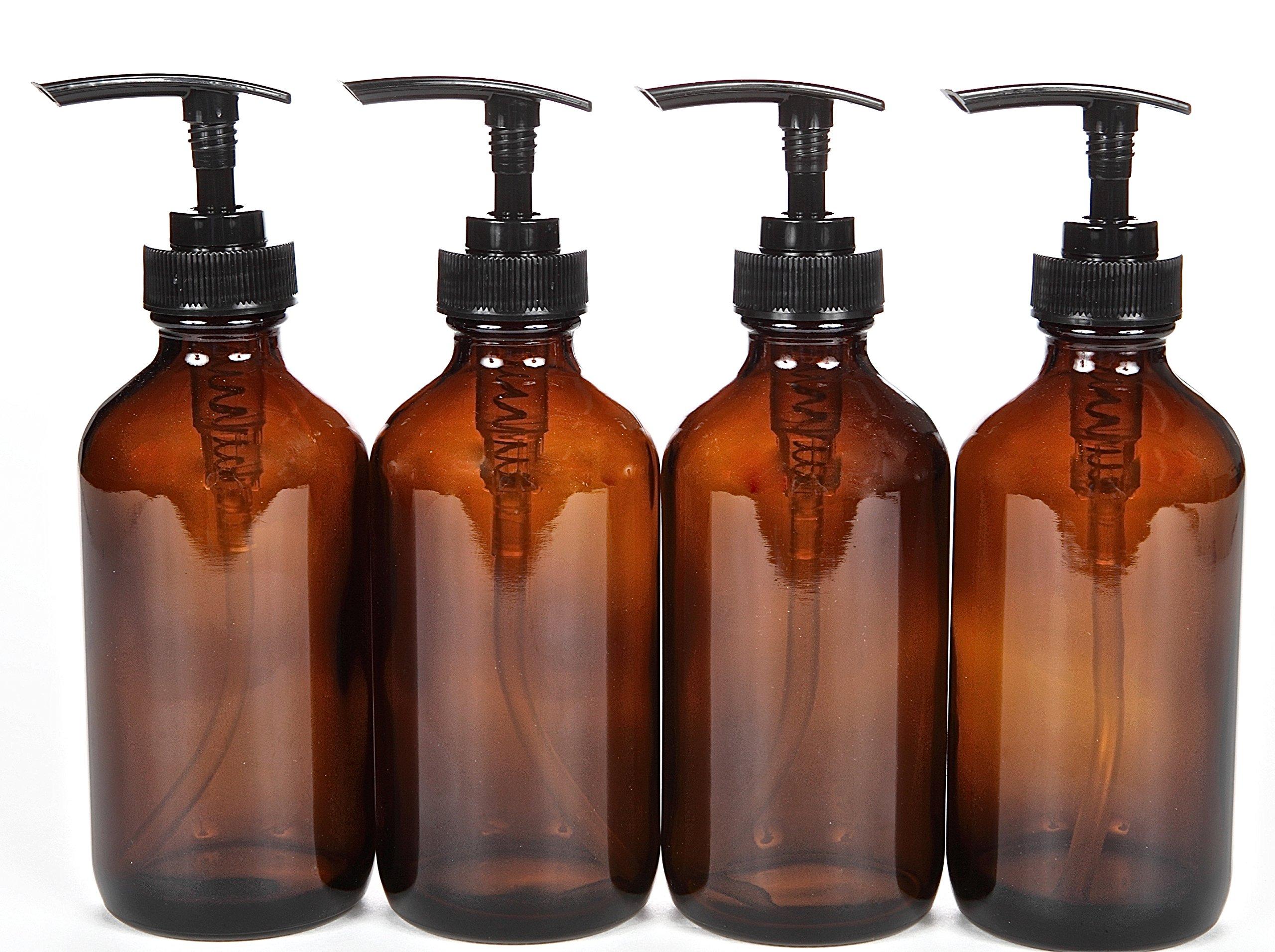 Vivaplex, 4, Large, 8 oz, Empty, Amber Glass Bottles with Black Lotion Pumps